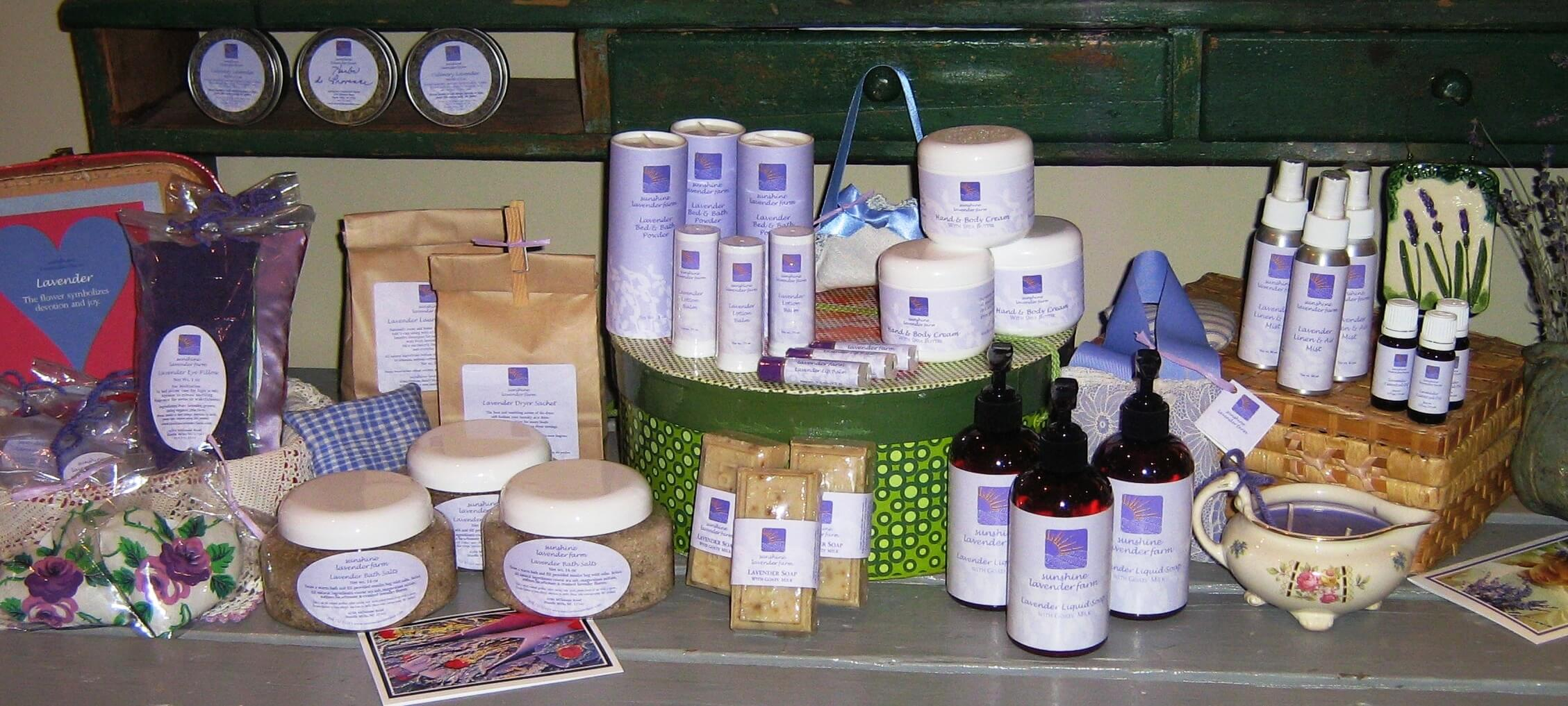 Lavender products from sunshine lavender